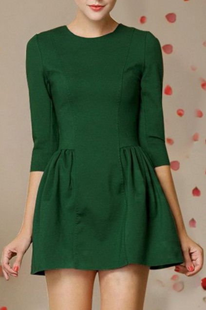 ROMWE Pleated Zippered Crop Green Dress