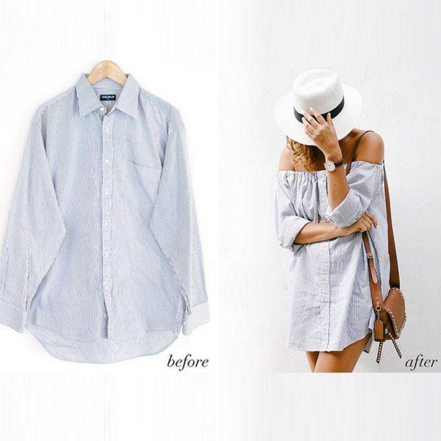 Chemise d'homme transformée en robe esprit Bardot
