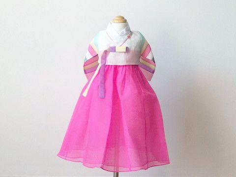 Girl's Hanbok (Short White/Pink)