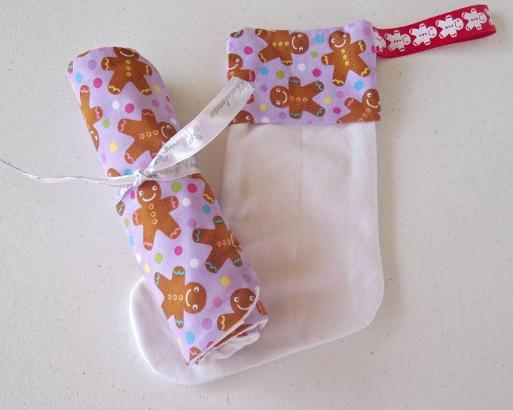 babys first christmas gift set. baby gift set. bib and burp cloth set. bib. burp cloth. gift bag. christmas stocking. unique gift set - pinned by pin4etsy.com
