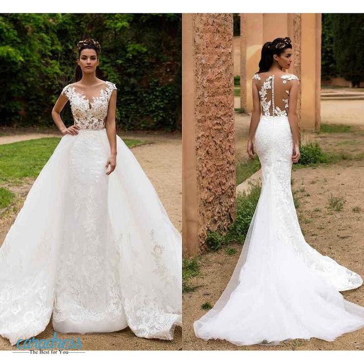Find More Wedding Dresses Information about 2017 Arabic Lace Sheer Crew Neck Overskirts Wedding Dresses Milla Nova with Detachable Train Illusion Back Garden Bridal Gowns,High Quality bridal gown,China wedding dress Suppliers, Cheap wedding dresses wedding dresses from only true love topseller Store on Aliexpress.com