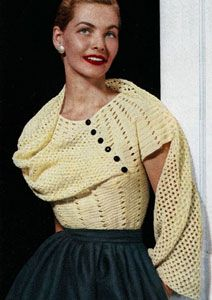 Stole Blouse crochet pattern from Sweaters of Nylon or Wool, American Thread Company, Star Sweater Book No. 92, in 1952.
