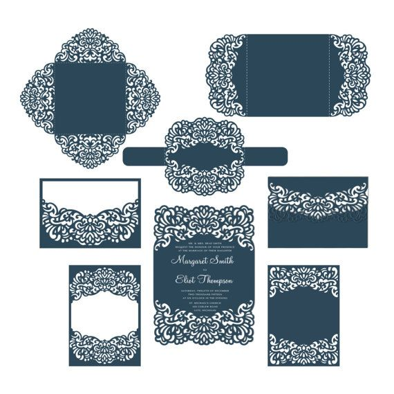 Set Laser cut Wedding Invitation Templates, Cricut, Silhouette Cameo, Brother Scan n Cut template от NarisariDigitalArt