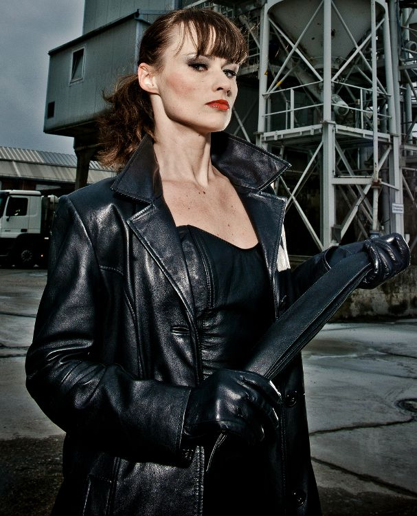 Long Leather Coat Mistresses-3536