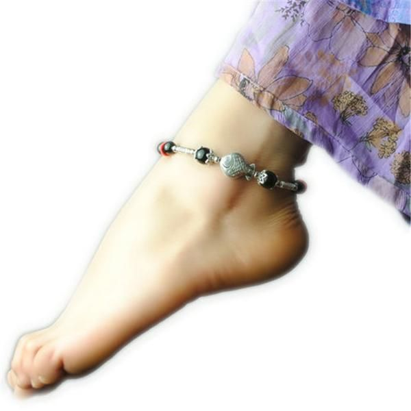 Ladies Fish Shape Anklets/Tibetan Silver Retro Foot Chain in Velvet Pouch