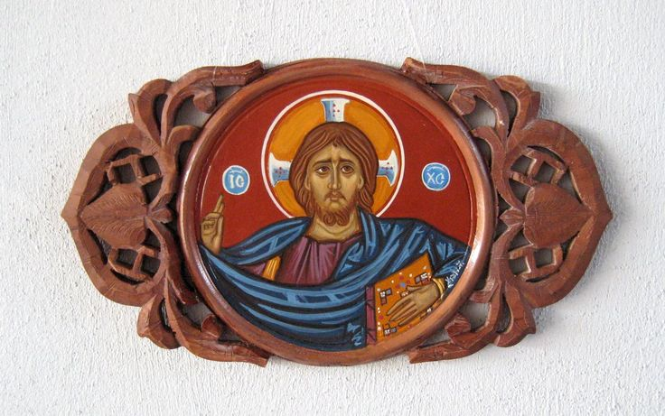 Pantocrator, carved wooden icon ornament-