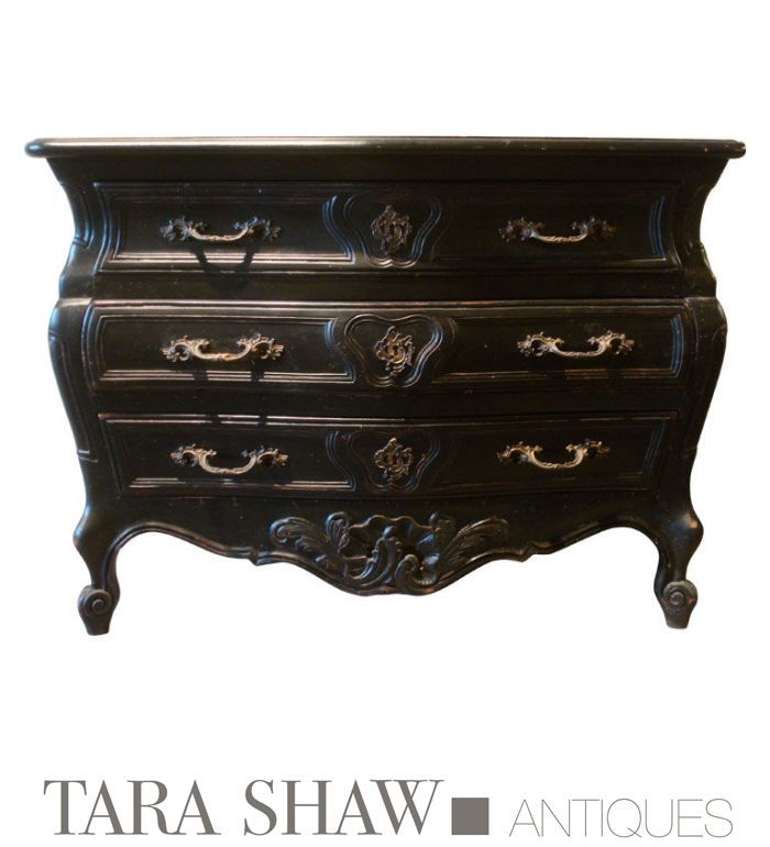 19c Provincial Chest Looks Fresh And Modern In Black. Tara Shaw Antiques.