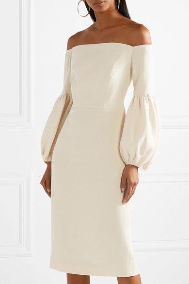 Lela Rose - Off-the-shoulder Wool-blend Crepe Dress - Pastel pink