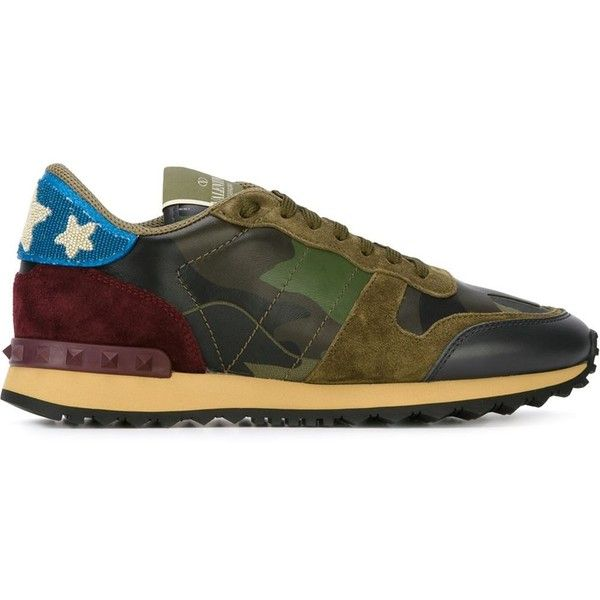 Valentino Garavani 'Rockrunner' sneakers ($1,245) ❤ liked on Polyvore featuring shoes, sneakers, green, camo sneakers, valentino sneakers, leather shoes, leather lace up shoes and lace up shoes