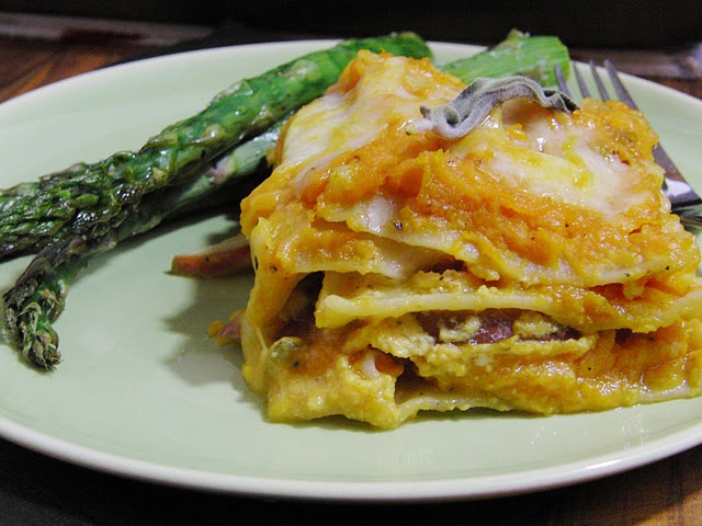 Roasted butternut squash lasagna w/sage, caramelized onions & pears