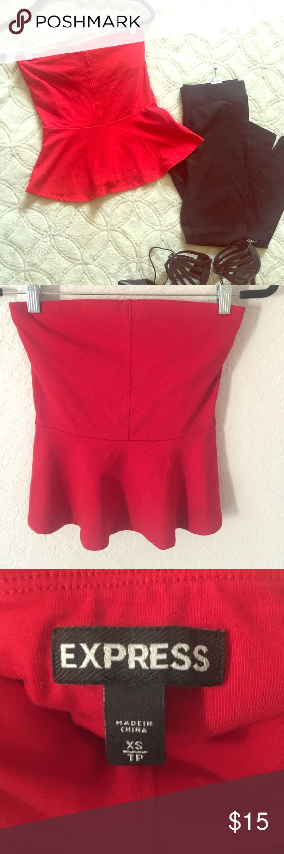 Express Strapless Peplum Tube Top Red Worn only once for a New Years Eve.                A sexy, shoulder-baring partner for jeans, shorts and sleek skirts. With the light support of two-ply stretch cotton on the bodice, plus some stay-put interior trim, this strapless top also takes practical considerations into account. Strapless sweetheart neckline, interior stay-put trim. Slip-on styling. Fitted two-ply bodice, seamed waist. Flared peplum ruffle. Cotton/Lycra spandex. Machine wash…