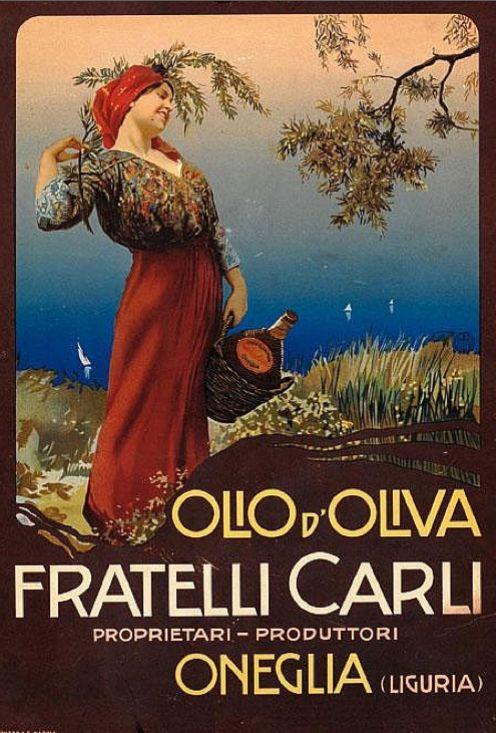 Vintage Italian Posters ~ #illustrator #Italian #posters ~ By Mario Borgoni,1910, Olio d'Oliva Fratelli Carli, Liguria.