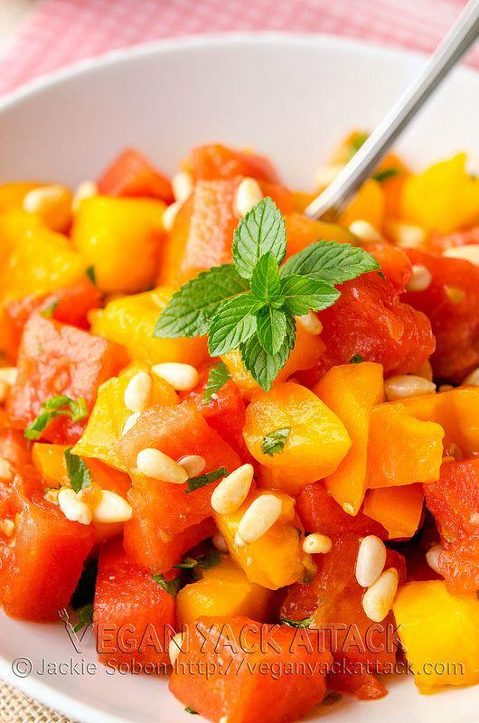 Refreshing Watermelon Tomato Salad- Perfect Summer Side! #vegan