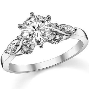 Marquise Diamond Moissanite Engagement Ring With Center