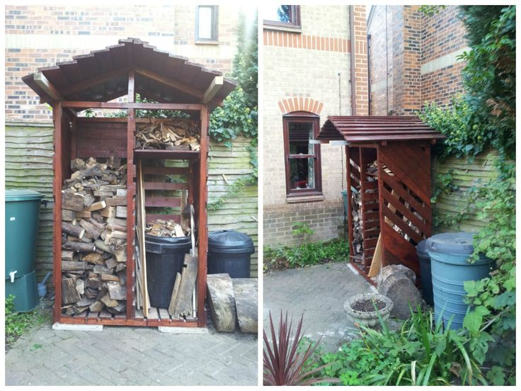 After looking at the cost of log stores at our local garden center, I visited 1001pallets.com and was inspired by to have a go at making one myself. Both sides are intended for logs, with the shelf under the roof for kindling, but until I get my next load of logs I am using the right side to store t…
