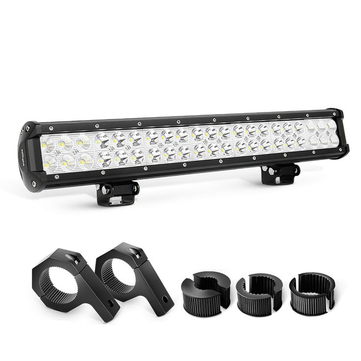 Nilight 20 Inch 126W Combo LED Light Bars& Off-Road Light Horizontal Bar Clamp Mounting Kit, 2 Years Warranty