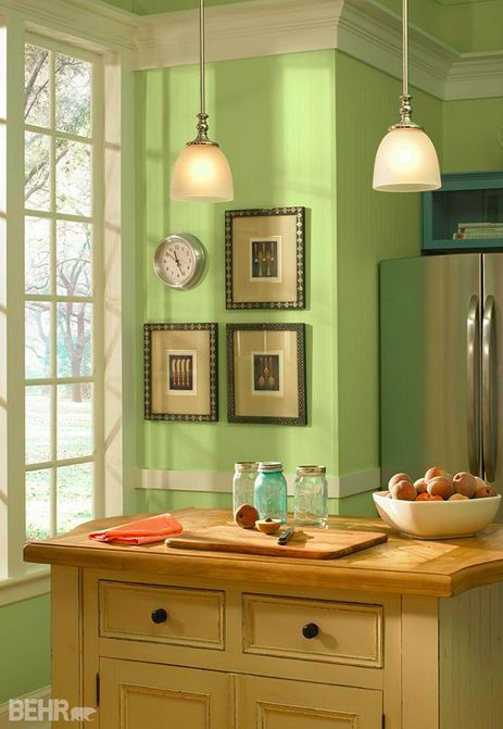 This basil chiffonade hue certainly does bring a natural vibe to this traditional style kitchen - Behr kitchen paint colors ...