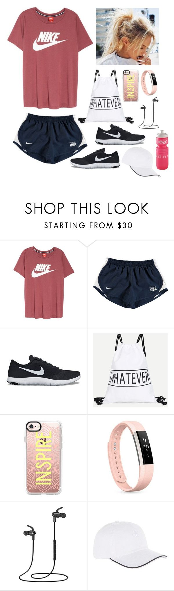 """Exercising ️"" by gussied-up on Polyvore featuring NIKE, Casetify, Fitbit, VaVa and Vilebrequin"