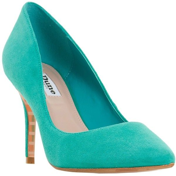 Dune Aurrora Pointed Toe Court Shoes (2 645 UAH) ❤ liked on Polyvore featuring shoes, pumps, green suede, stiletto pumps, green shoes, green pumps, suede slip on shoes and slip-on shoes
