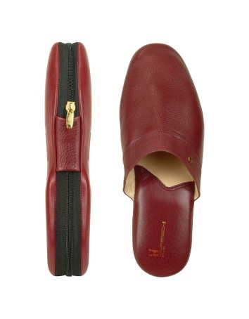 Amerigo - Burgundy Nappa Leather Travel Slippers w/Case - Perfect for the man who prefers to lounge around in style, Moreschis Amerigo slippers exude Italian class and craftsmanship in soft burgundy Nappa leather with luxurious leather lining and signature zippered case. Dust bag included, Made in Italy.