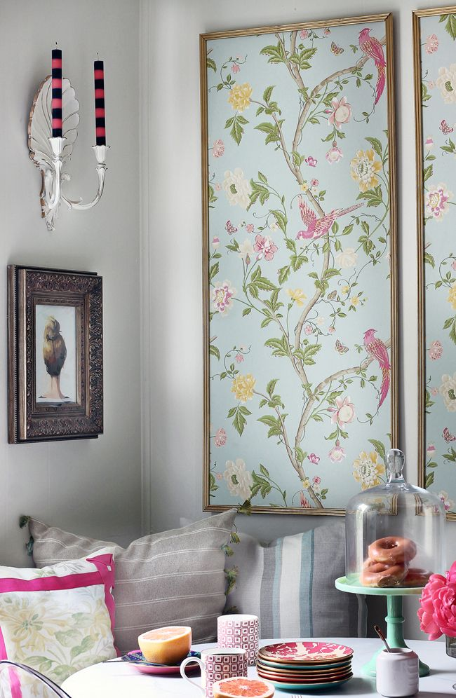 Custom framing pieces of wallpaper is great way to get the design on your wall, without having it take up the whole room!