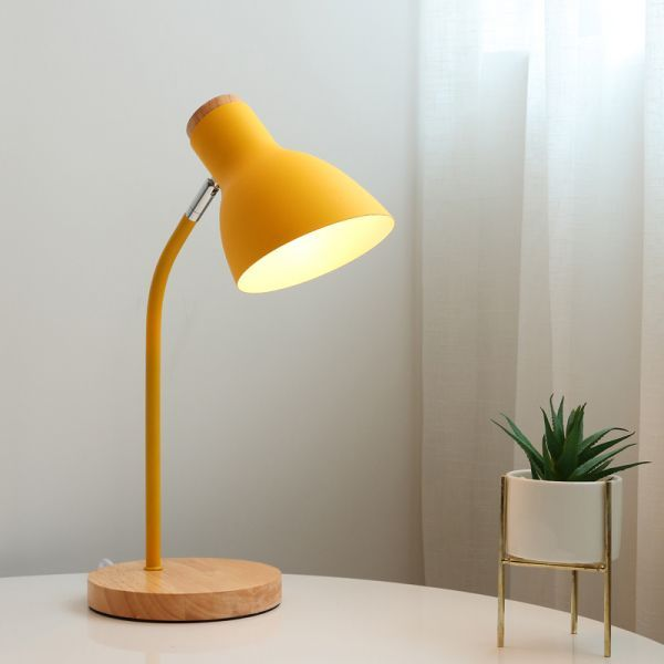 Wide Flare Table Light Macaron Metal 1 Bulb Yellow Small Desk Lamp With Rotating Node Small Desk Lamp Desk Lamp Yellow Table Lamp