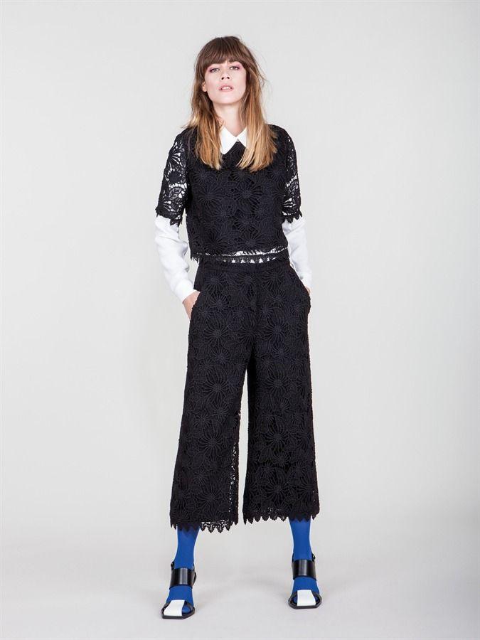 Naughty Dog FW1617 macramé lace top and midi pants