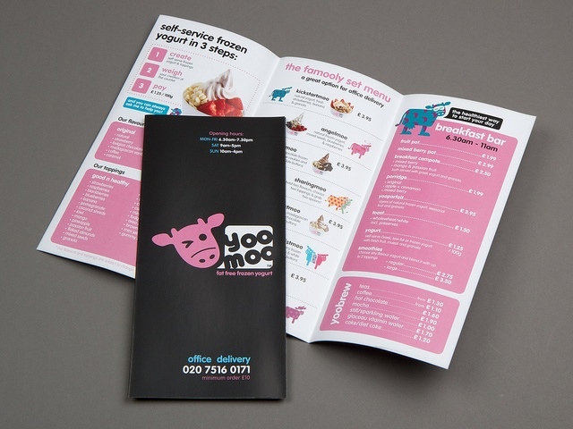 Yoomoo menu 6pp DL or tri-fold leaflet, via Flickr.