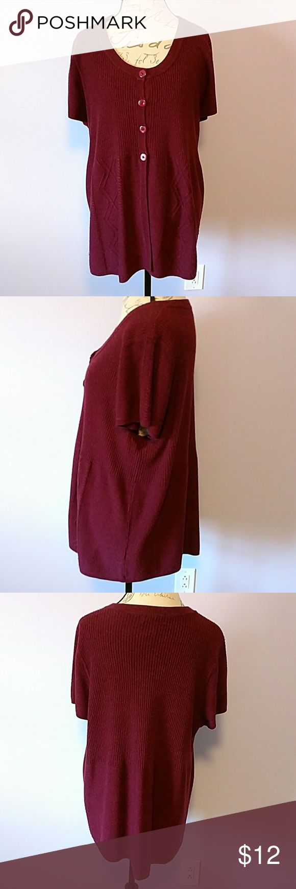 Dress Barn plus size sweater Dress Barn plus size 22/24, button top and open front sweater with short sleeves in maroon. Dress Barn Sweaters