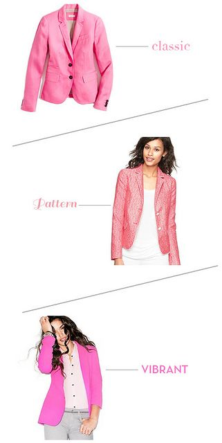 Yes, Please: Hot Pink Blazers--- different styles!!!