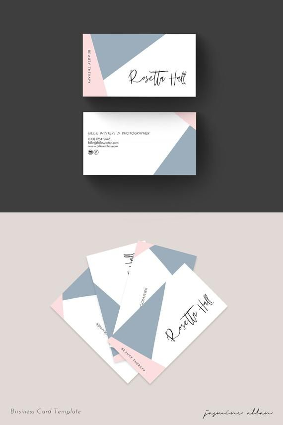 Editable Geo Business Card Template Blush Pink And Blue Etsy Business Card Design Minimalist Business Card Design Business Cards Diy Templates