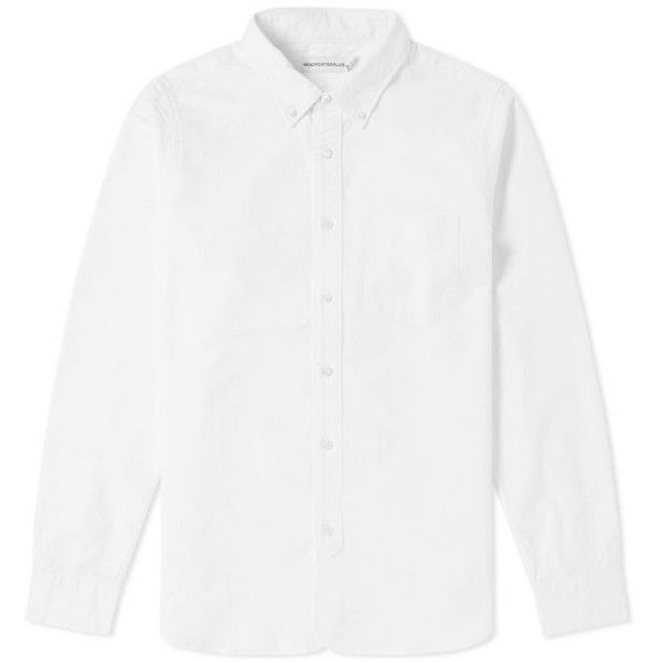 Head Porter Plus Oxford Shirt ($225) ❤ liked on Polyvore featuring tops, white fitted top, woven top, structured top, oxford shirt and white oxford shirt