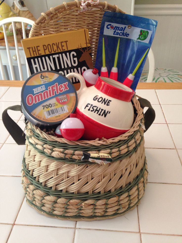 17 best ideas about fishing gift baskets on pinterest for Fishing gift basket