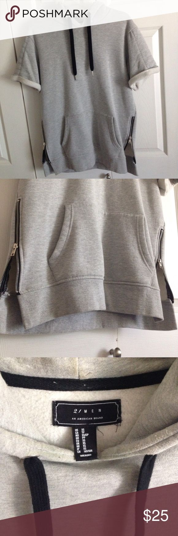 F21 Men Sleeveless Hoodie Gray sleeveless hoodie with side zippers and detailed shoulder design. Forever 21 Shirts Sweatshirts & Hoodies