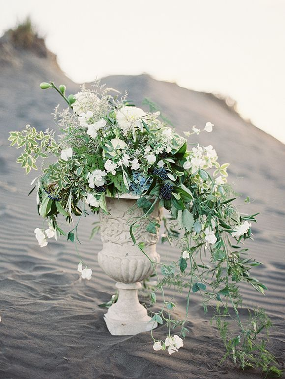 Large Urn Floral Arrangement Of Trailing Greenery And Cascading