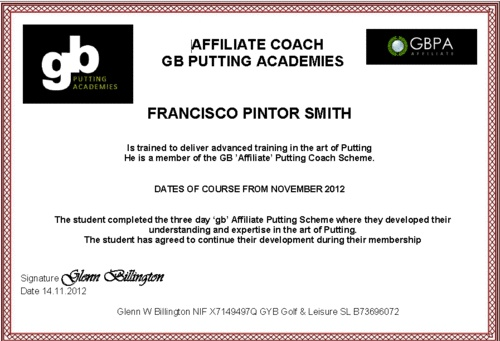 Affiliate putting Coach Francisco Pintor Smith