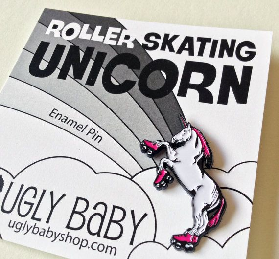 I love this roller skating unicorn enamel pin! It is the perfect gift for the unicorn lover in your life. Extra special bonus points if they also play roller derby. #AD