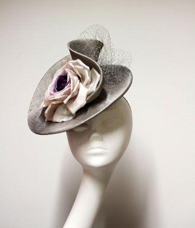 Jane Taylor curled silk sinamay perching hat