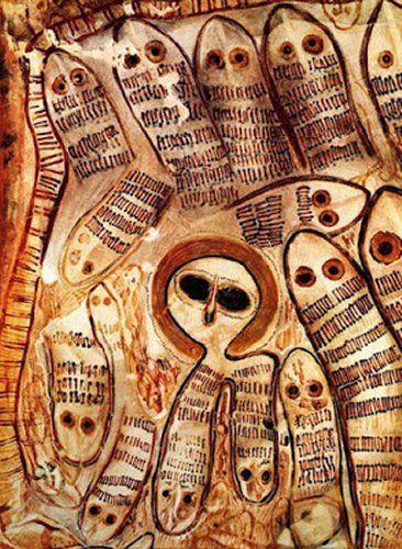 Mysterious Wandjina - Legacy Of Australian Aborigine Cave Paintings -  Painting a Wandjina with snakes Ngungunda - Ungud: hermaphrodite snake god in the mythology of the Aboriginals in north-western Australia.