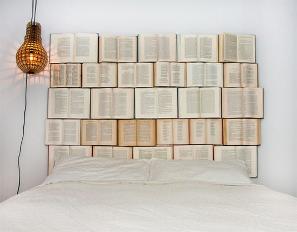 headboard made of books   DIY headboard for the bed made of old books   My desired home