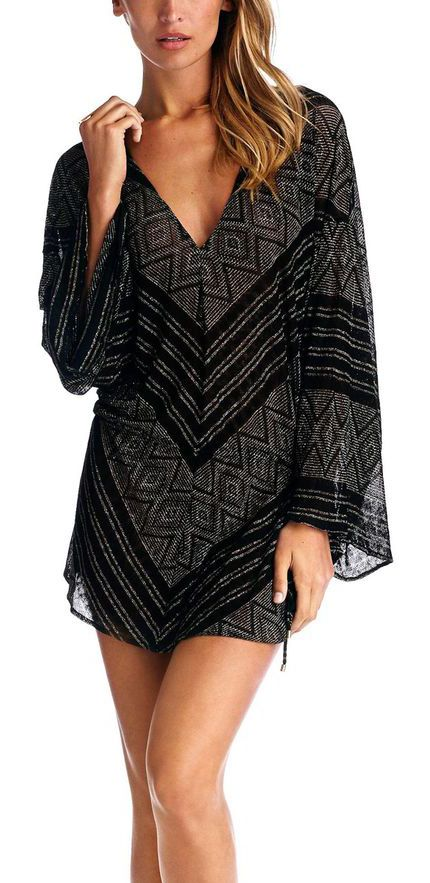 V-Print Coverup Dress