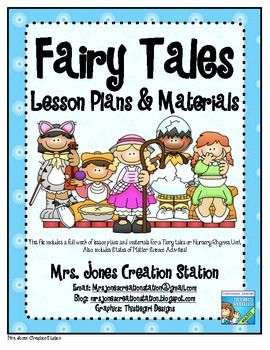 Fairy Tales & More... Lesson Plans and MaterialsThis file includes a full week of lesson plans and materials for a Fairy tales or Nursery Rhymes Unit. Also, it includes States of Matter Science Activities!Detailed Lesson Plans Covering:Morning Work Stations: Short 'e', sight words, blends,etc.Morning Message: Calendar, Letters and Sounds Sight Words: my, big, come, blue, red Poem of the Week: Nursery Rhymes Word Workshop/Phonics: Short 'i' Word Families, Ss blends Readers Workshop: Fairyt...