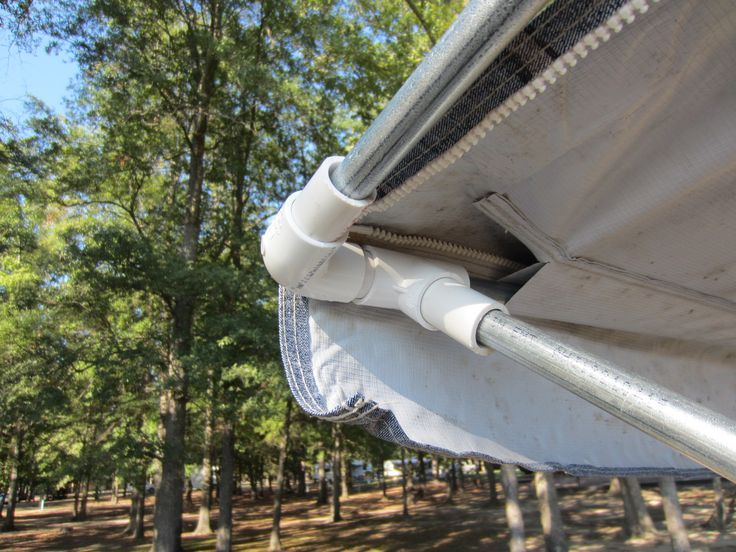 Simple, CHEAP, Awning Mod using PVC pipe fittings and metal conduit