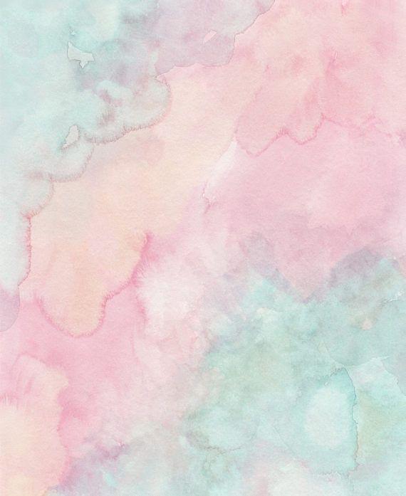Pastel Watercolor Print Pastel Prints Mint Green And