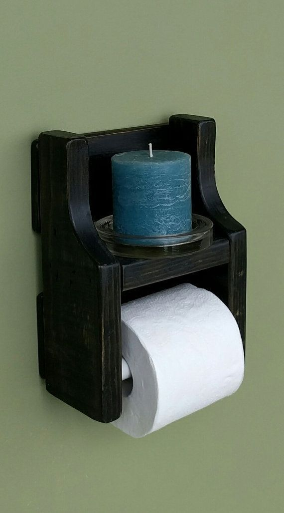Rustic Toilet Paper Holder with Shelf made from Reclaimed and Repurposed Pallet … – Diy wall decor