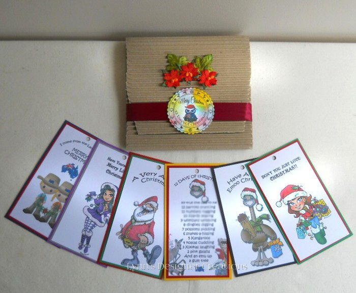 Australian 12 Days Of Christmas Tags Gift Set in Red Decorative Pouch