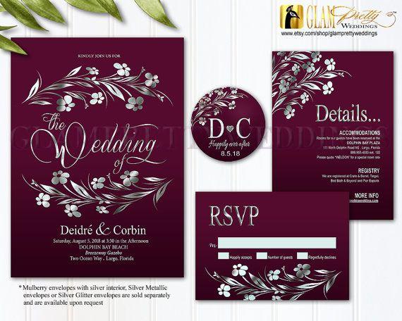 Burgundy Silver Foil Wedding Invitation By Glamprettyweddings More