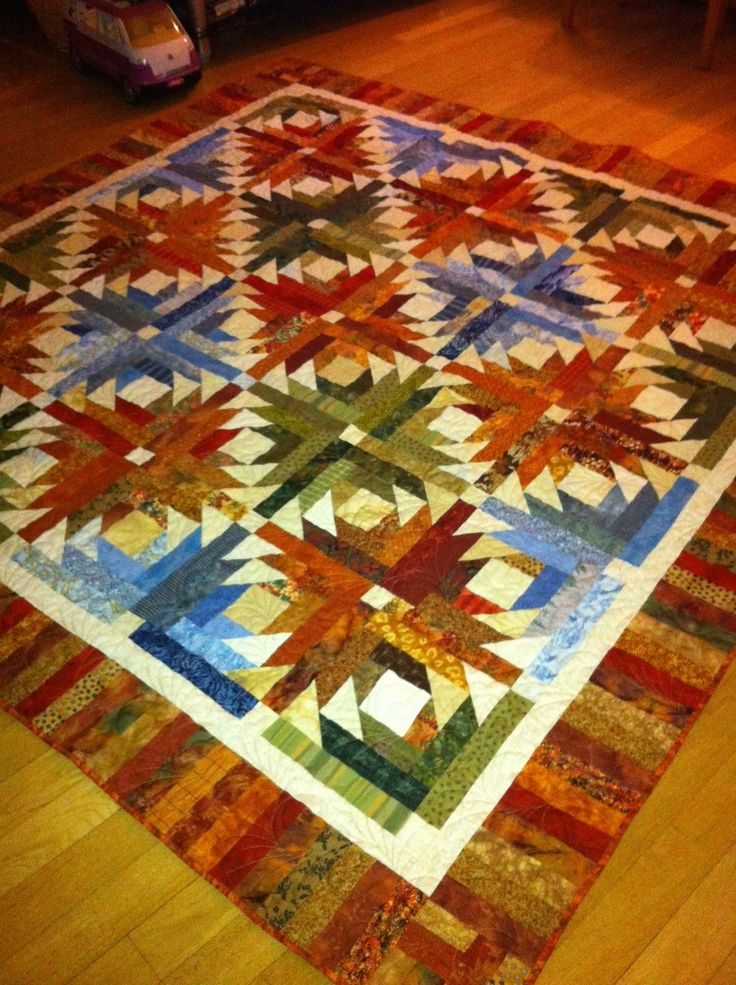 My Pineapple Blossom quilt from scraps!