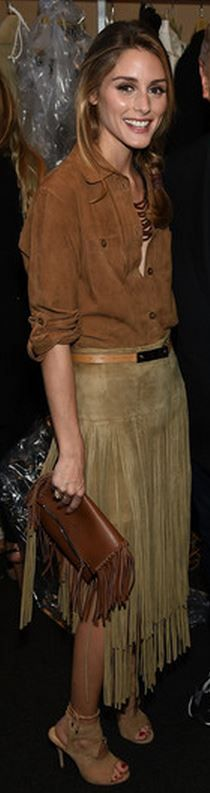 Who made Olivia Palermo's suede fringe skirt, tan shoes, and brown fringe handbag?