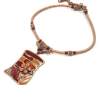 Brown Enamel drop Pendant on cord necklace